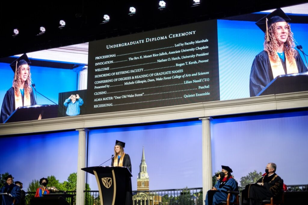 Wake Forest University holds the third of four 2021 Commencement Diploma Ceremonies, for Bachelor of Arts, in Joel Coliseum on Sunday, May 16, 2021. New graduate Lilian Nassif ('21), B.A. English, gives the closing remarks.