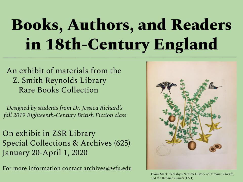 Poster for Rare Books Exhibit titled Books Authors and Readers in 18th century England