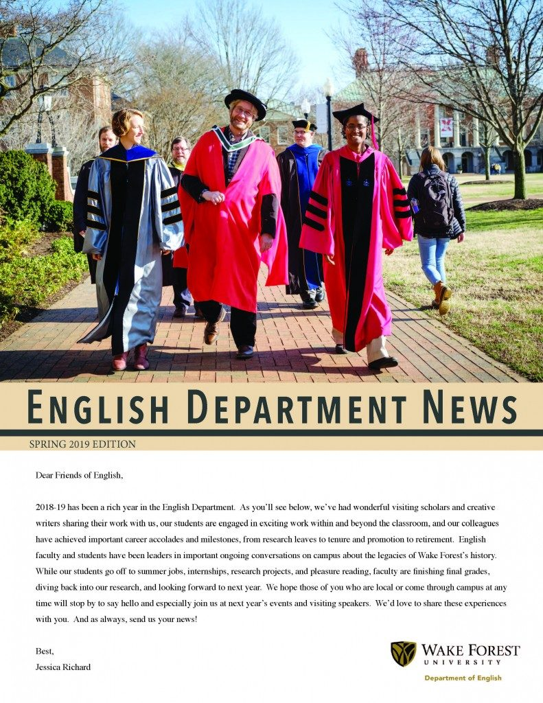 Cover of Spring 2019 English Department Newsletter