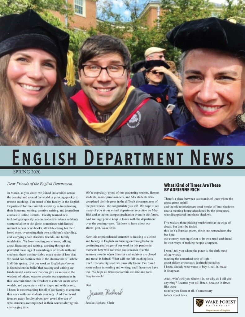 Cover of the spring 2020 English newsletter