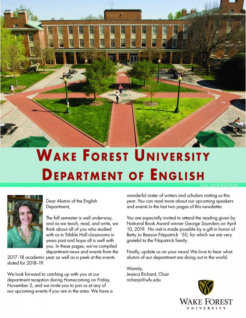 Cover of Fall 2018 English Department Newsletter
