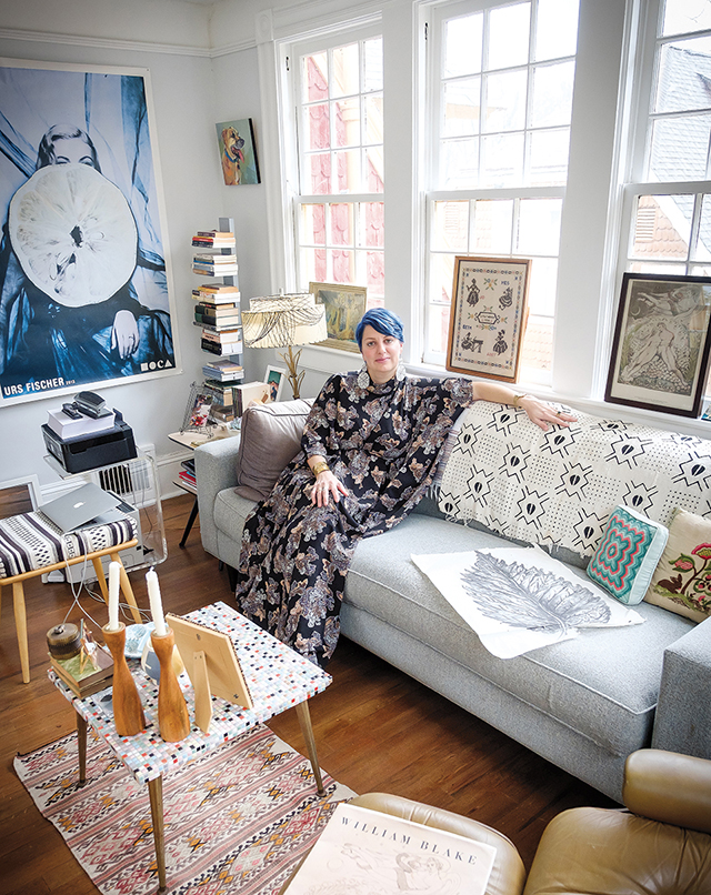 Photo of Professor Susan Harlan in her home, from the Summer 2019 feature in Wake Forest Magazine