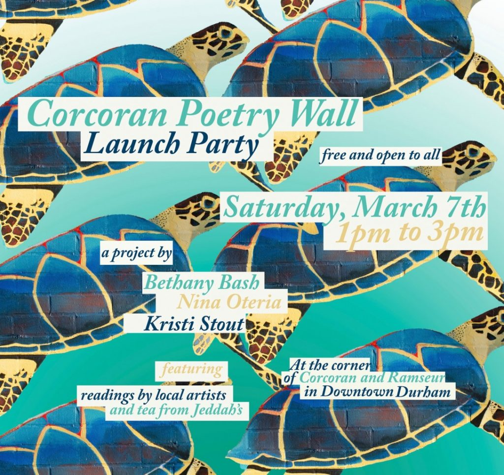 Flyer for Corcoran Poetry Wall launch party March 7 2020