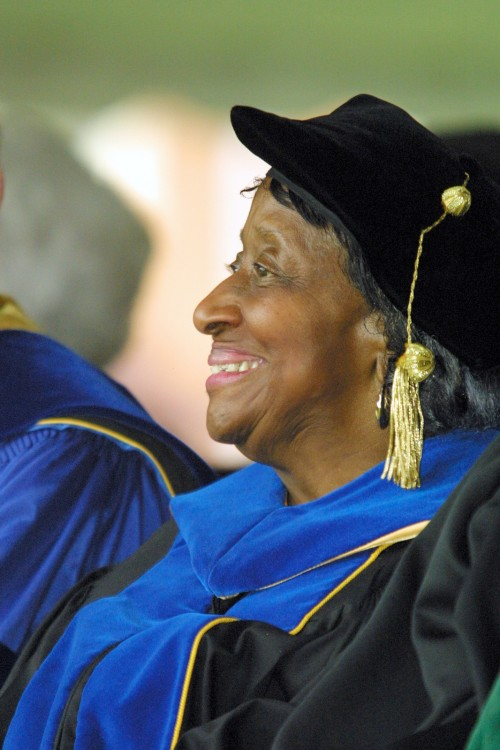 Dr. Dolly McPherson smiles in her doctoral regalia at the 2001 WFU Commencement Ceremony.