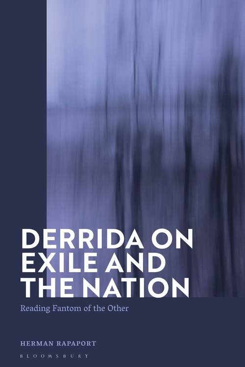 Image of Herman Rapaport's book, Derrida on Exile and the Nation: Reading Fantom of the Other. White text on an abstract textured blue background