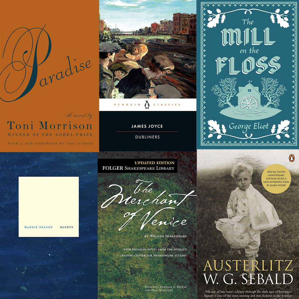 A collage of the covers of six books: Toni Morrison's Paradise, James Joyce's Dubliners, George Eliot's Mill on the Floss, Maggie Nelson's Bluets, Shakespeare's Merchant of Venice, and Sebald's Austerlitz.